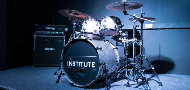 Drums with Institute logo