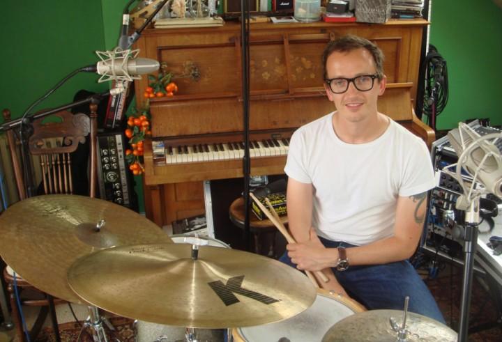 Luke Bullen sat at a drum-kit