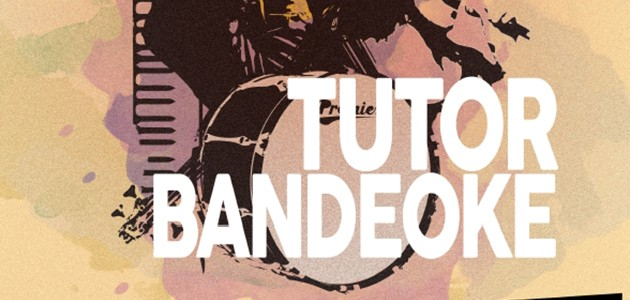 Tutor Bandeoke logo with water colour splash background
